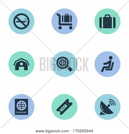 Set Of 9 Simple Transportation Icons. Can Be Found Such Elements As Baggage Cart, Seat, Coupon And Other.
