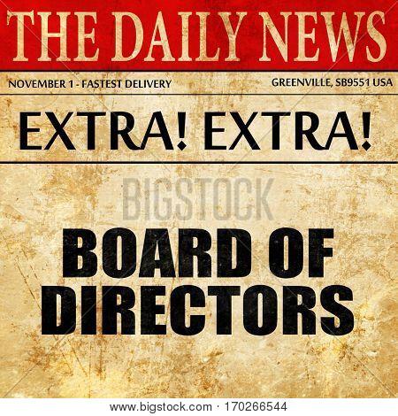 board of directors, newspaper article text