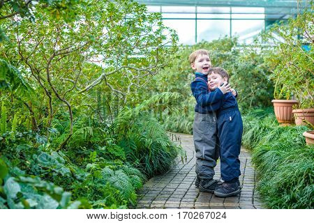 Two Boys Brothers Friends Having Fun In Greenhouse. Azalea Winter Garden. Kids And Family