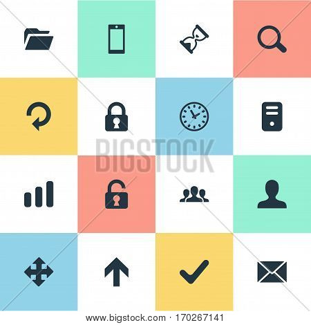 Set Of 16 Simple Application Icons. Can Be Found Such Elements As Upward Direction, Lock, Magnifier And Other.