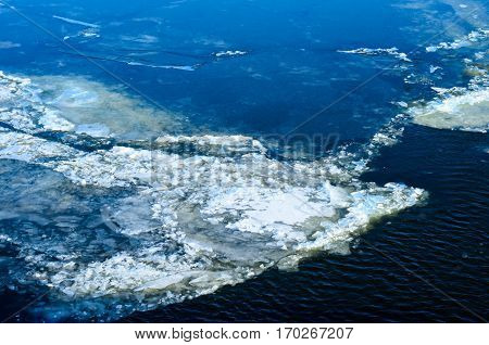 Drifting Ice Floes On A River Dnieper