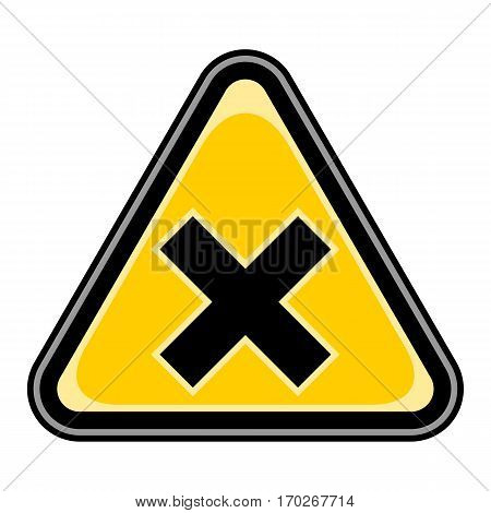 Use it in all your designs. Quick and easy recolorable vector illustration. Yellow and black triangular sticker with mark irritant sign. Triangle hazard, warning, danger symbol