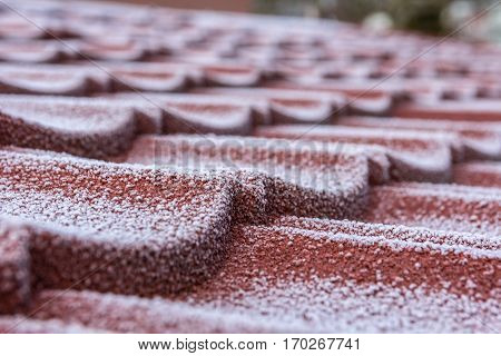 winter frost on roof tiles after a cold snap