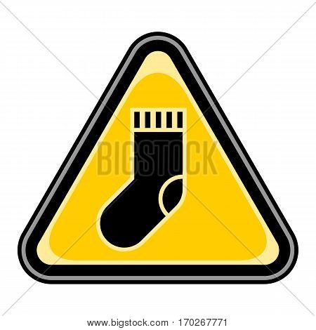 Use it in all your designs. Quick and easy recolorable vector illustration. Yellow and black triangular sticker with christmas stocking sign. Triangle hazard, warning, danger symbol