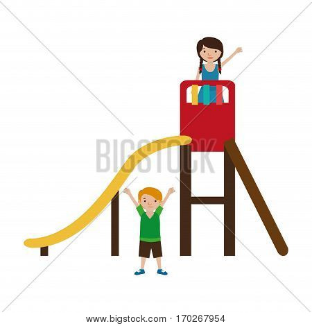 colorful playground with a slide and kids vector illustration