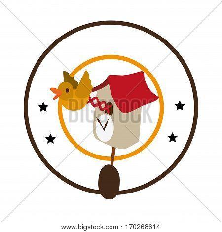 colorful circular border with antique bird clock icon vector illustration
