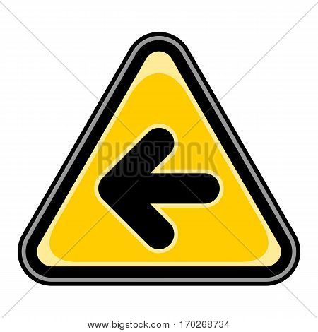 Use it in all your designs. Quick and easy recolorable vector illustration. Yellow and black triangular sticker with arrow left sign. Triangle hazard, warning, danger symbol