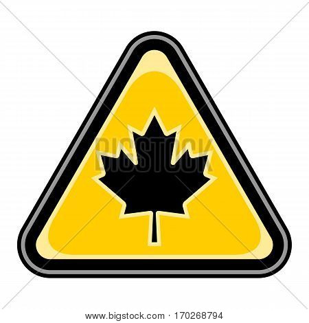 Use it in all your designs. Quick and easy recolorable vector illustration. Yellow and black triangular sticker with canadian maple leaf sign. Triangle hazard, warning, danger symbol