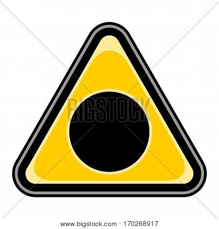 Use it in all your designs. Quick and easy recolorable vector illustration. Yellow and black triangular sticker with black hole sign. Triangle hazard, warning, danger symbol