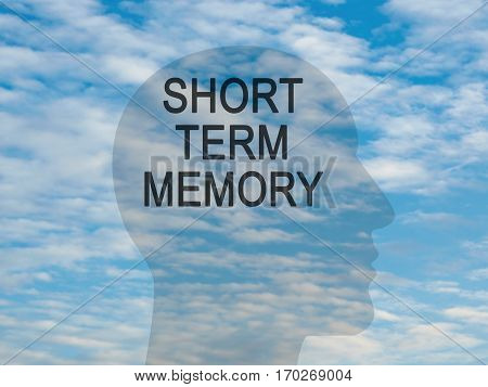 Words Short Term Memory On Transparent Head Silhouette Against A Blue Cloudy Sky illustration