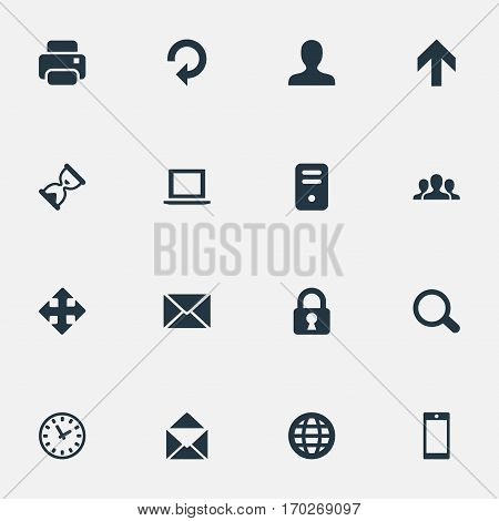 Set Of 16 Simple Apps Icons. Can Be Found Such Elements As Watch, Community, Printout And Other.