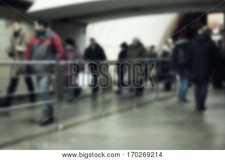 Blurred abstract background of people traffic in underground passage