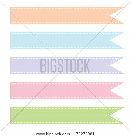 collection of kid tone colors ribbons with dash line isolated on white background