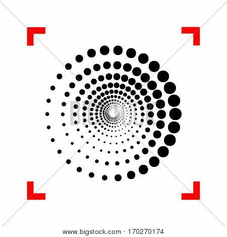 Abstract technology circles sign. Black icon in focus corners on white background. Isolated.