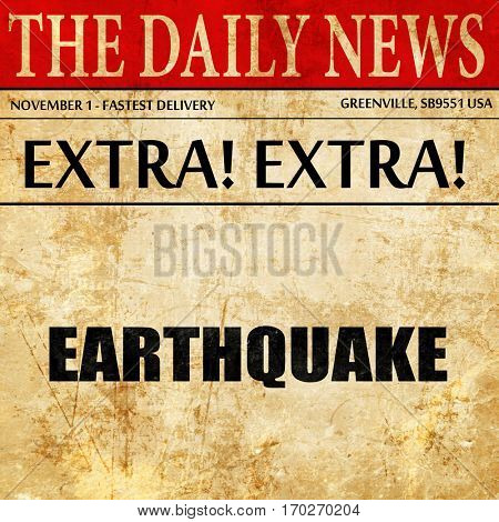 earthquake, newspaper article text