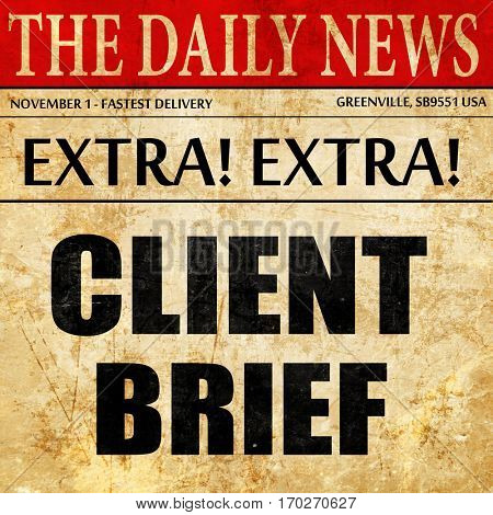 client brief, newspaper article text