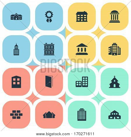 Set Of 16 Simple Structure Icons. Can Be Found Such Elements As Gate, Flat, Popish And Other.