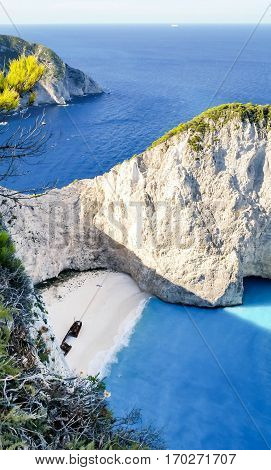 View of beautiful Navagio Beach - shipwreck beach on Zakynthos Island in Greece
