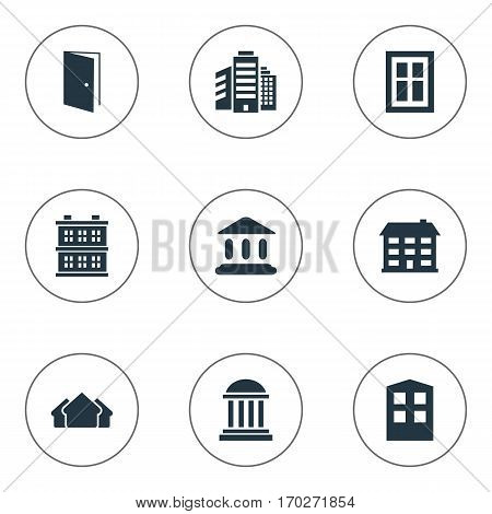 Set Of 9 Simple Structure Icons. Can Be Found Such Elements As School, Superstructure, Shelter And Other.
