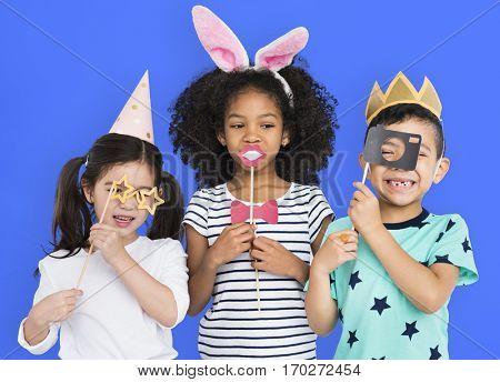 Little Kids Hands Hold Props Studio