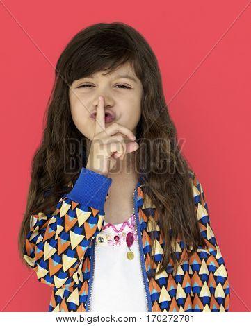Little Girl Smiling Happiness Quiet Shut Up Secret Shh Portrait poster