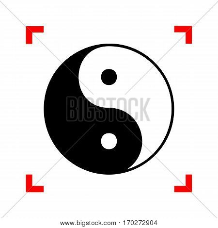 Ying yang symbol of harmony and balance. Black icon in focus corners on white background. Isolated.