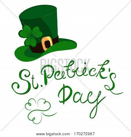 Happy St. Patrick's Day lettering with clover shamrock. Traditional Irish hollyday background.