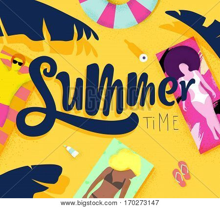 Summer time poster with beach and lying on deck chair people on the sun bright colorful modern style