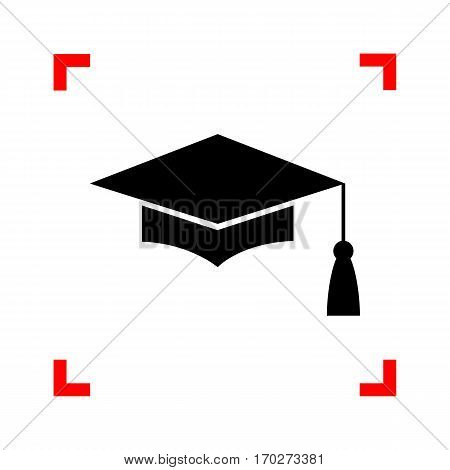 Mortar Board or Graduation Cap, Education symbol. Black icon in focus corners on white background. Isolated.