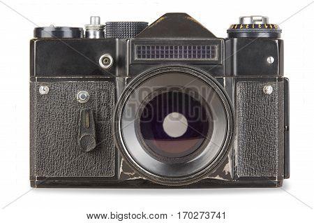 old vintage retro camera isolated on white background