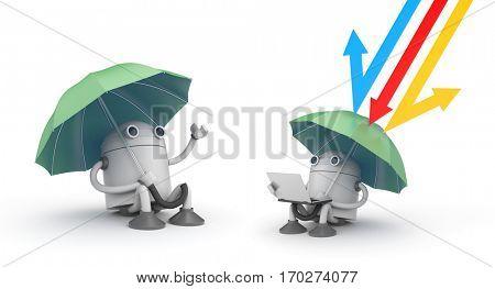 Under protection - metaphor. 3d illustration