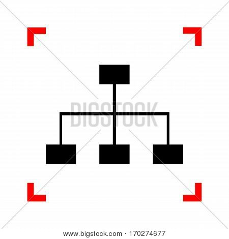 Site map sign. Black icon in focus corners on white background. Isolated.