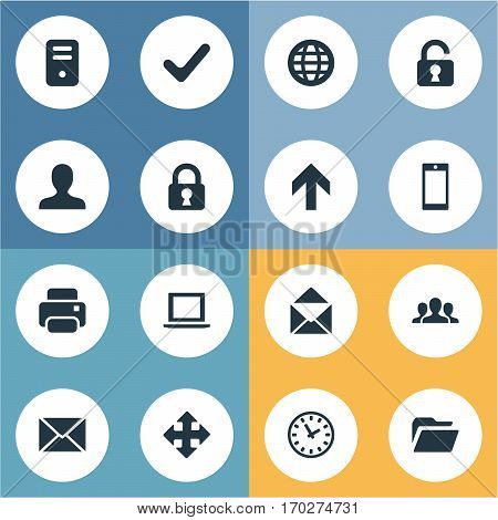 Set Of 16 Simple Application Icons. Can Be Found Such Elements As Printout, Open Padlock, Watch And Other.