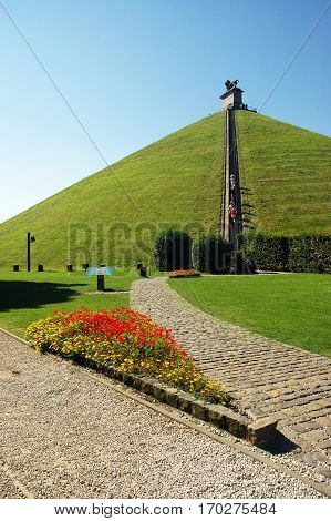 Lion's Mound commemorates the Battle of Waterloo in 1815, Belgium