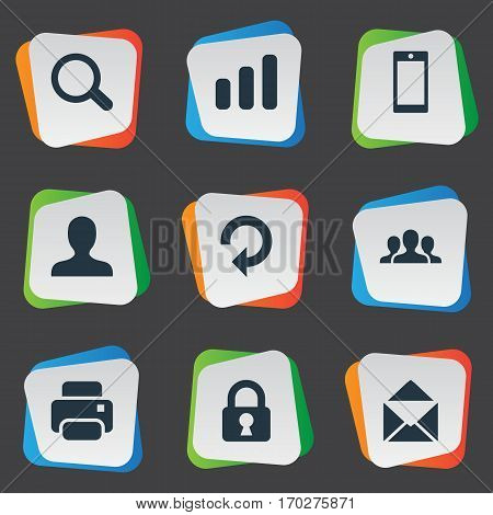Set Of 9 Simple Application Icons. Can Be Found Such Elements As Statistics, Community, Lock And Other.