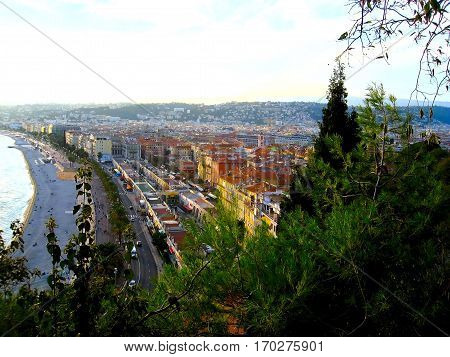 View of Nice city Promenade des Anglais Cote d'Azur French riviera Mediterranean sea France
