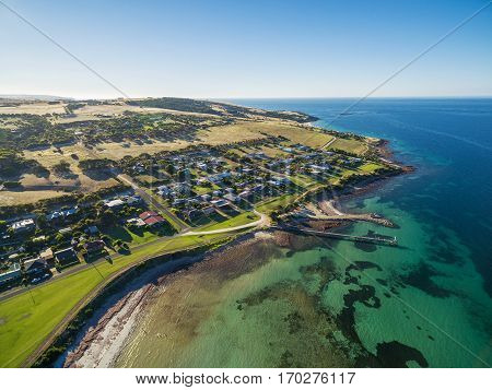 Aerial View Of Emu Bay Town And Pier. Kangaroo Island, South Australia.