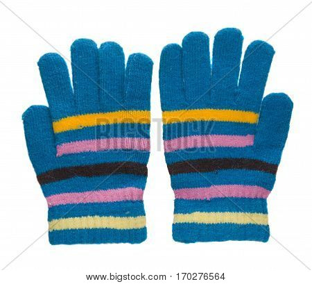 Knitted Gloves. Gloves Isolated On White Background. Gloves A Top View.blue Gloves In Yellow Pink St