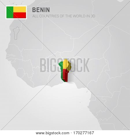 Benin painted with flag drawn on a gray map.