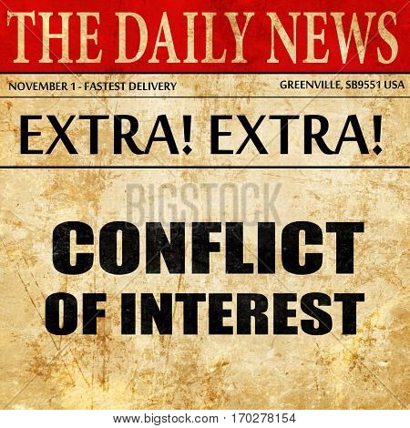 conflict of interest, newspaper article text