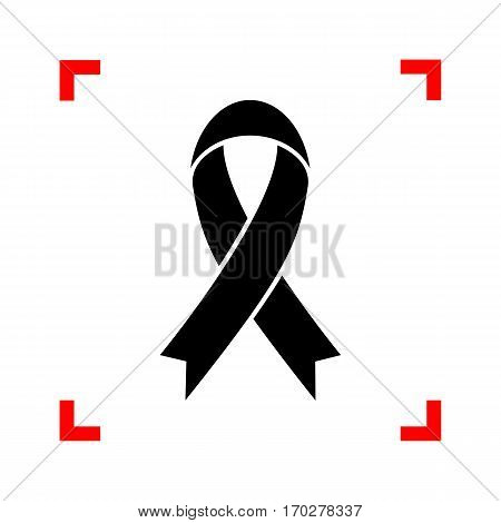 Black awareness ribbon sign. Black icon in focus corners on white background. Isolated.