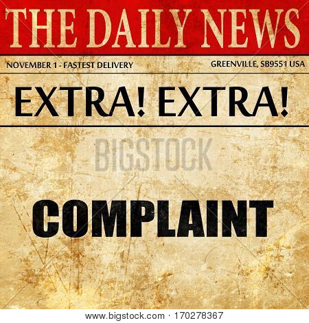 complaint, newspaper article text
