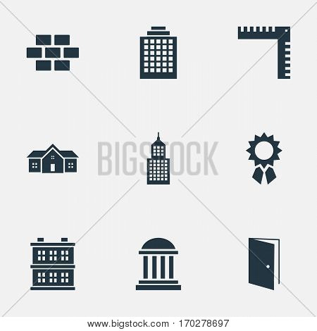 Set Of 9 Simple Architecture Icons. Can Be Found Such Elements As Block, Academy, Stone And Other.