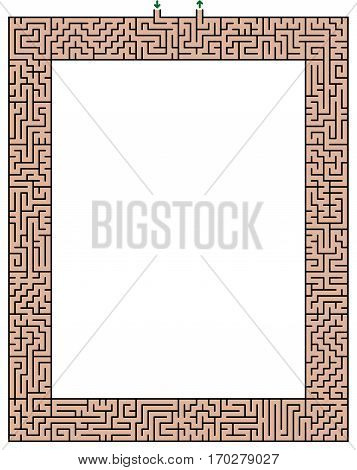 Maze frame- high size - isolated vector illustration over white background.