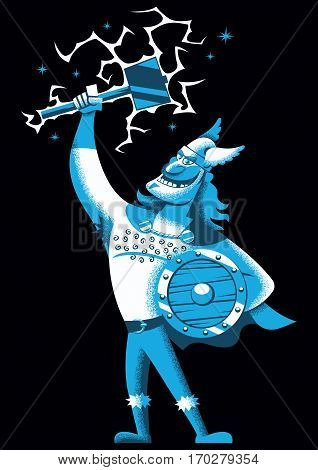Cartoon illustration of Scandinavian god Thor over black background.
