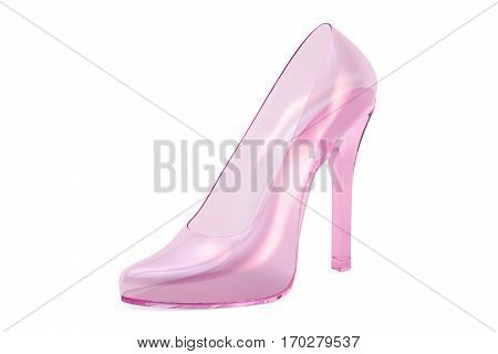 pink crystal high heel glass slipper. 3D rendering isolated on white background