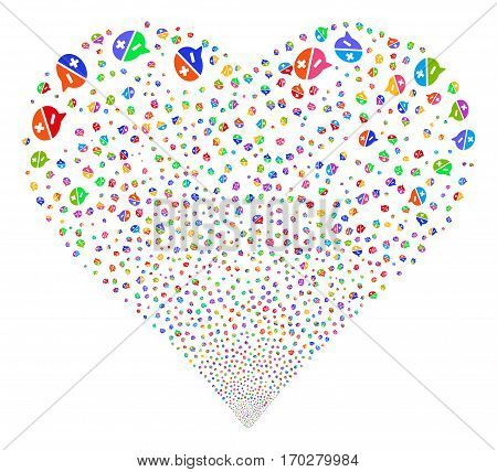 Arguments fireworks with heart shape. Vector illustration style is flat bright multicolored iconic symbols on a white background. Object love heart combined from scattered design elements.