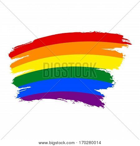 Use it in all your designs. Rough paint brush stroke made in the colors of the rainbow pride flag LGBT movement. Quick and easy recolorable graphic element in technique vector illustration