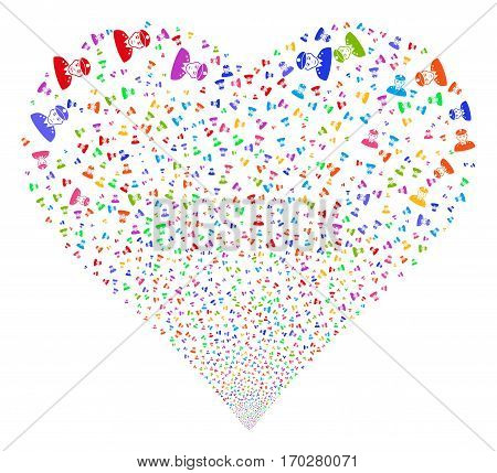 Army General fireworks with heart shape. Vector illustration style is flat bright multicolored iconic symbols on a white background. Object stream made from confetti icons.