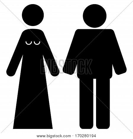 Married Groom And Bribe vector icon symbol. Flat pictogram designed with black and isolated on a white background.